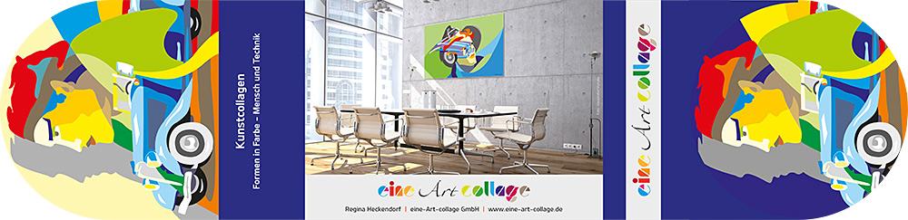 Flyer 2019 (Außenteil) von eine Art collage / Regina Heckendorf mit Beispielen der Bilder im Raum.